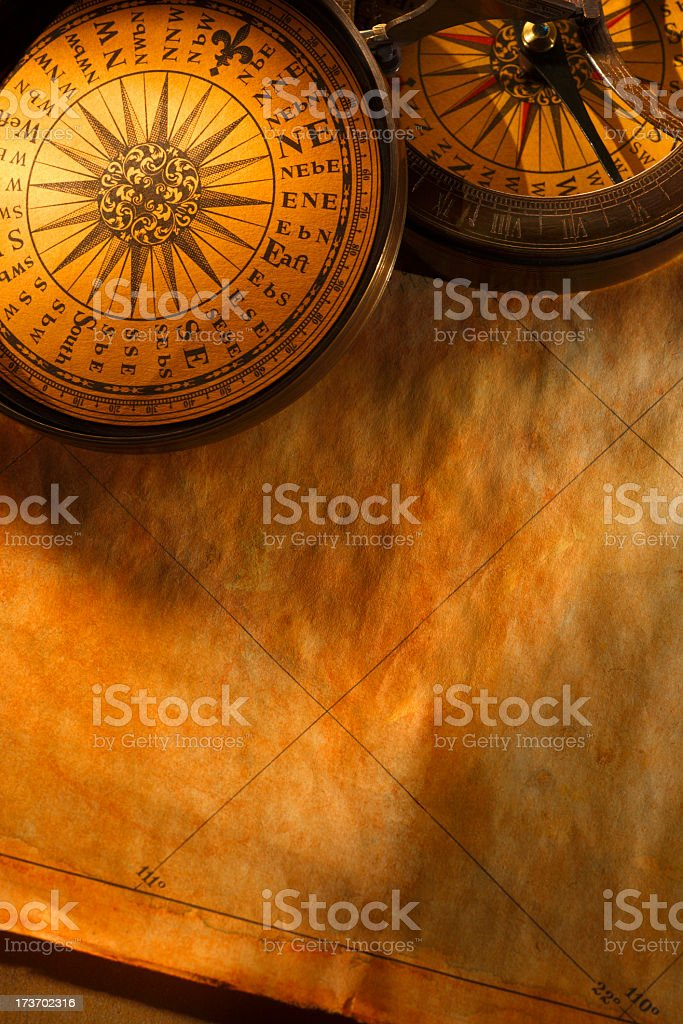 Close Up Of Compass Rose And Directional Compass On Old Map stock photo