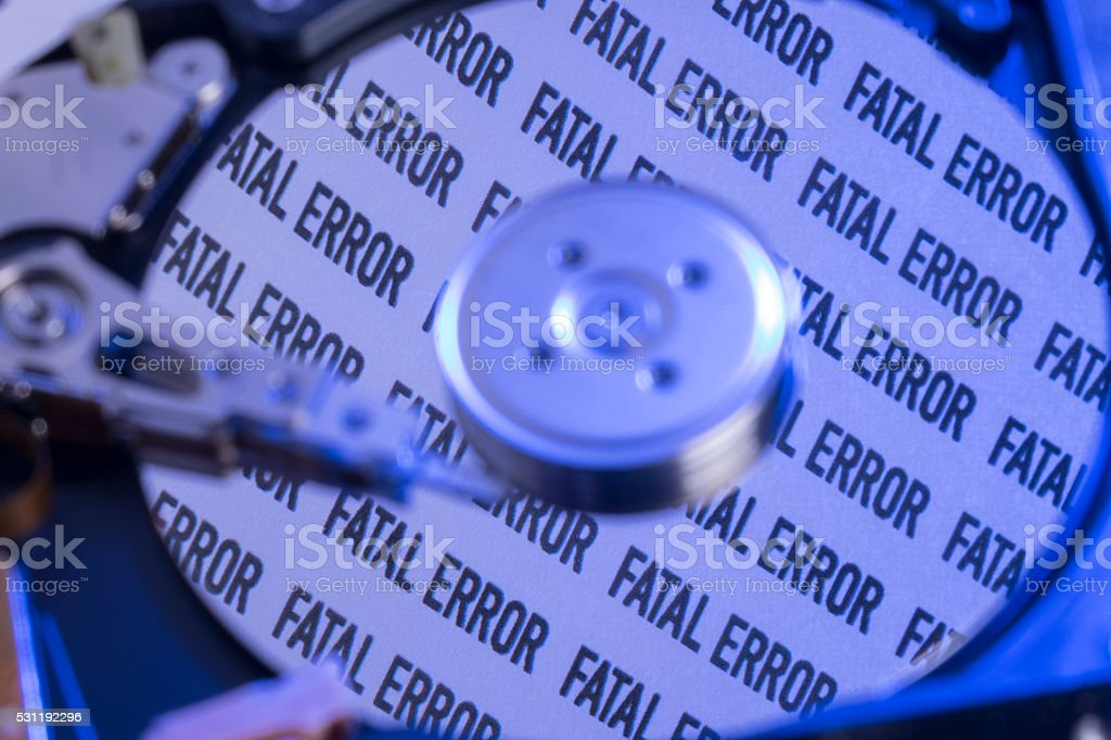 Close Up Of Computer Infected Hard Drive stock photo