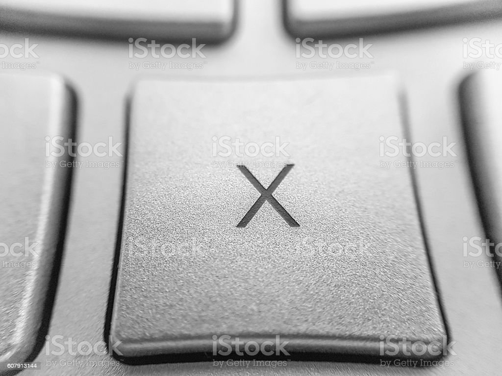close up of computer key  - letter x key stock photo