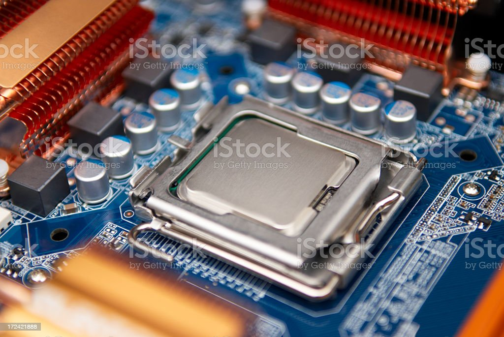 Close up of Computer motherboard stock photo
