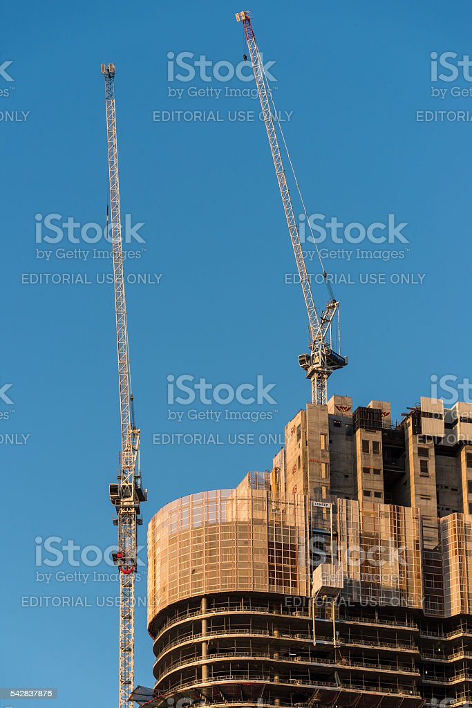 Close up of construction process of Barangaroo office centre stock photo