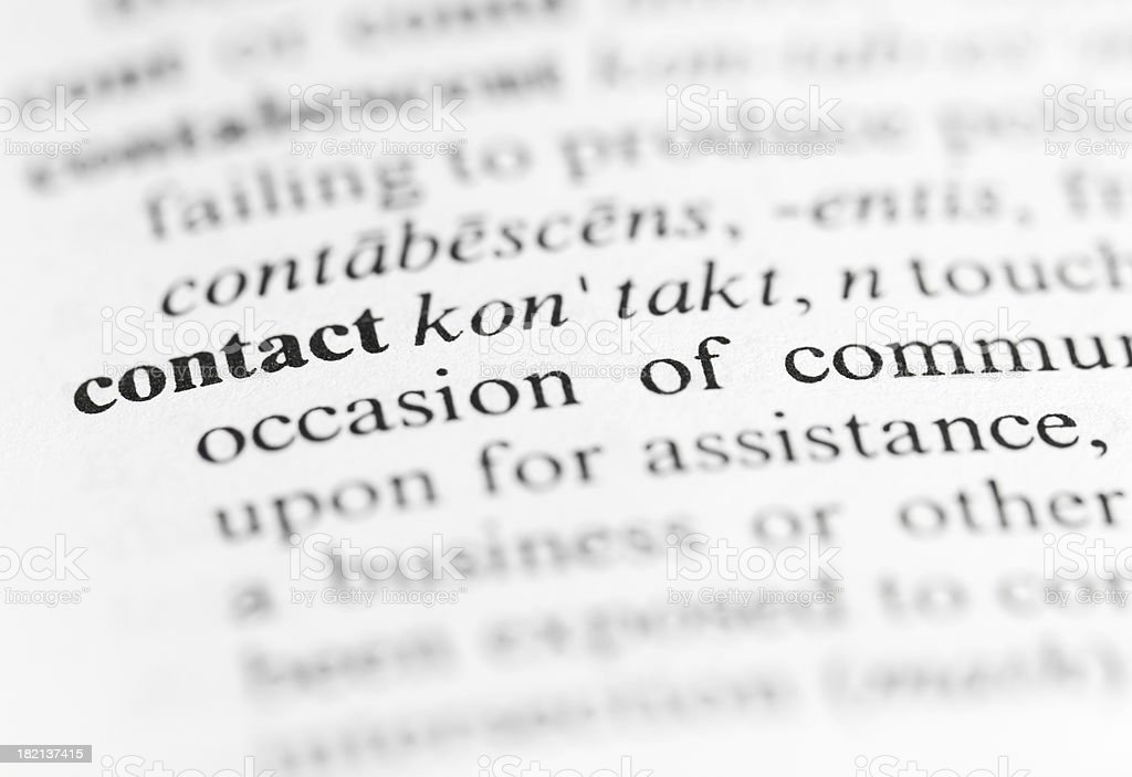Close up of contact definition stock photo