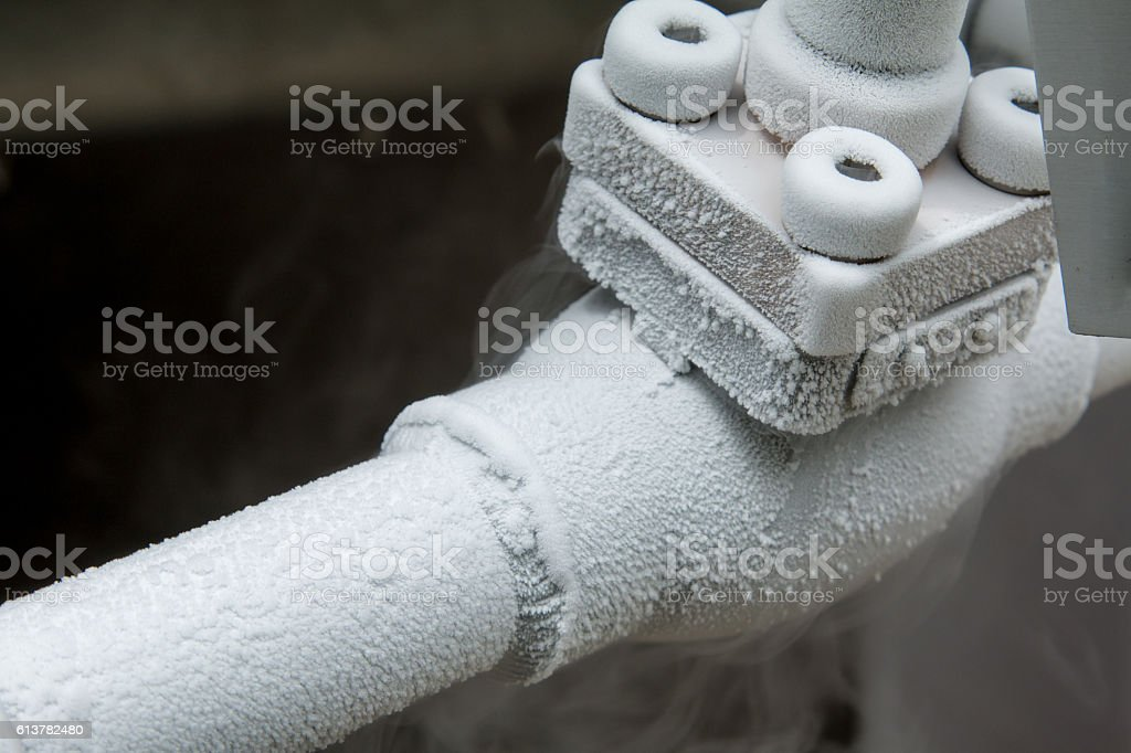 Close up of container with liquid nitrogen, stock photo