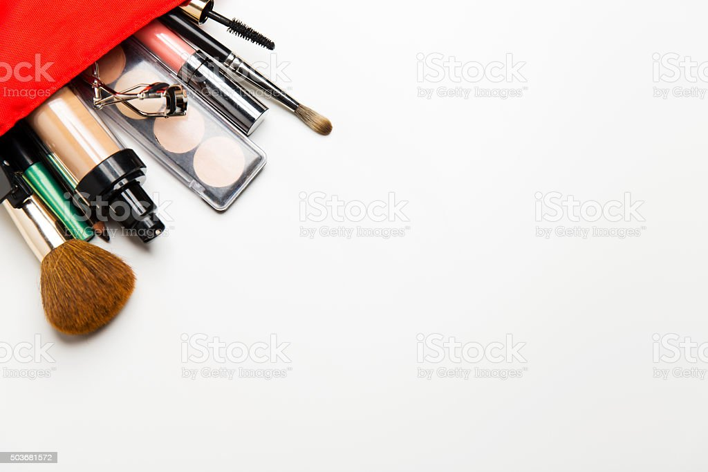 close up of cosmetic bag with makeup stuff stock photo