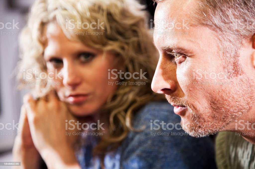 Close up of couple, focus on man stock photo