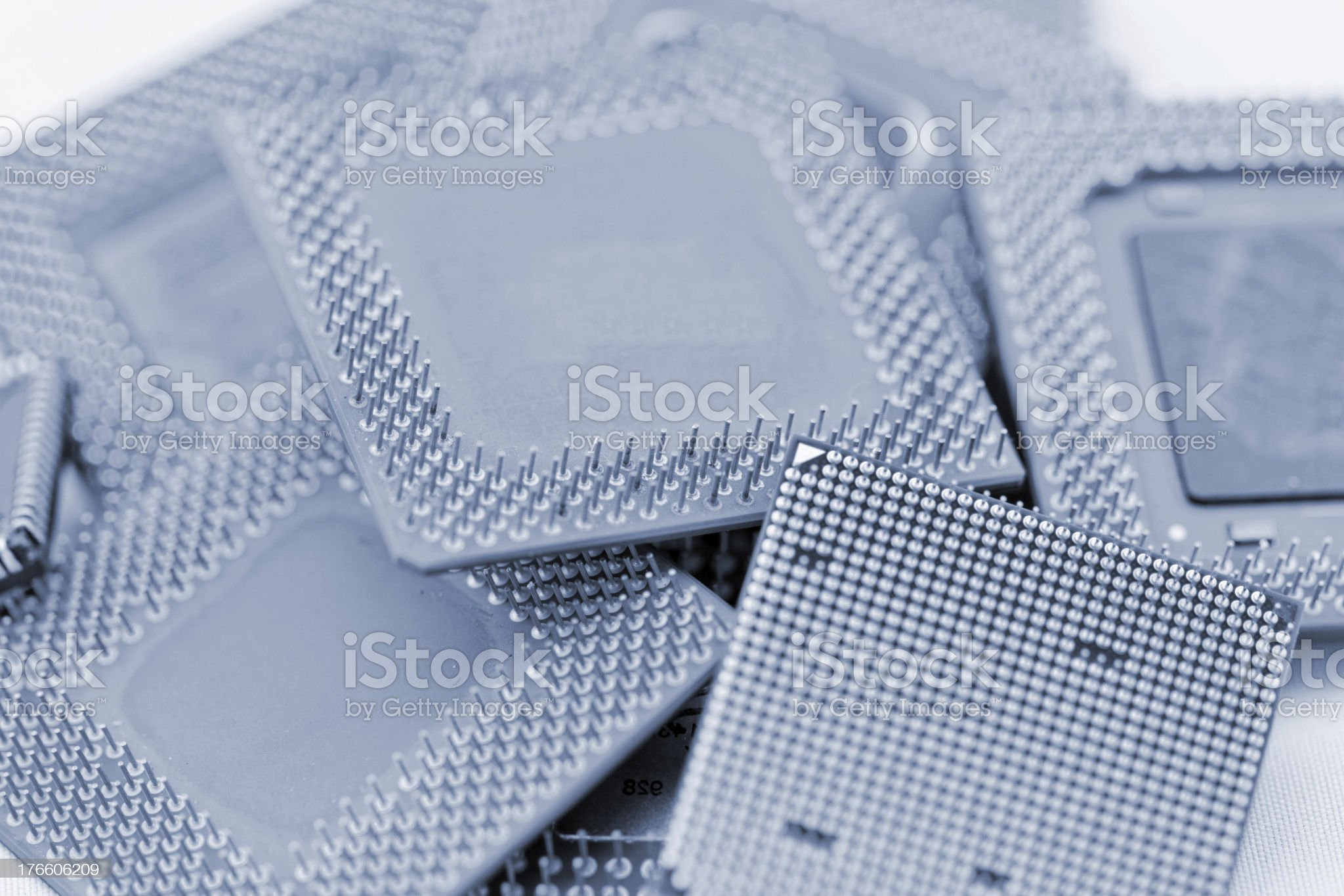 close up of cpu processors in blue royalty-free stock photo