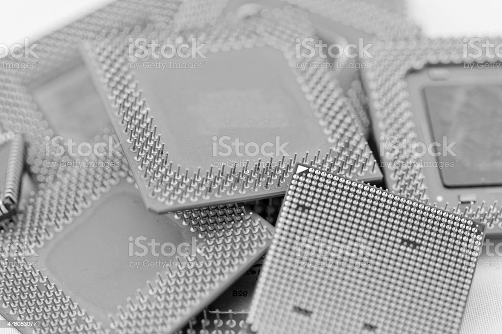 close up of cpu processors in bw royalty-free stock photo