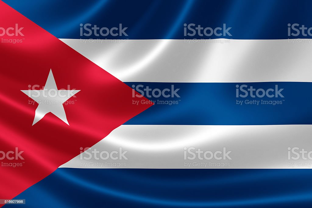 Close Up of Cuba's Flag stock photo