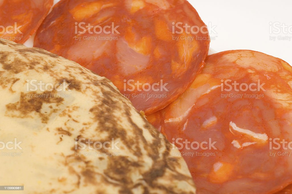 Close up of cured meats and omelette on white plate stock photo