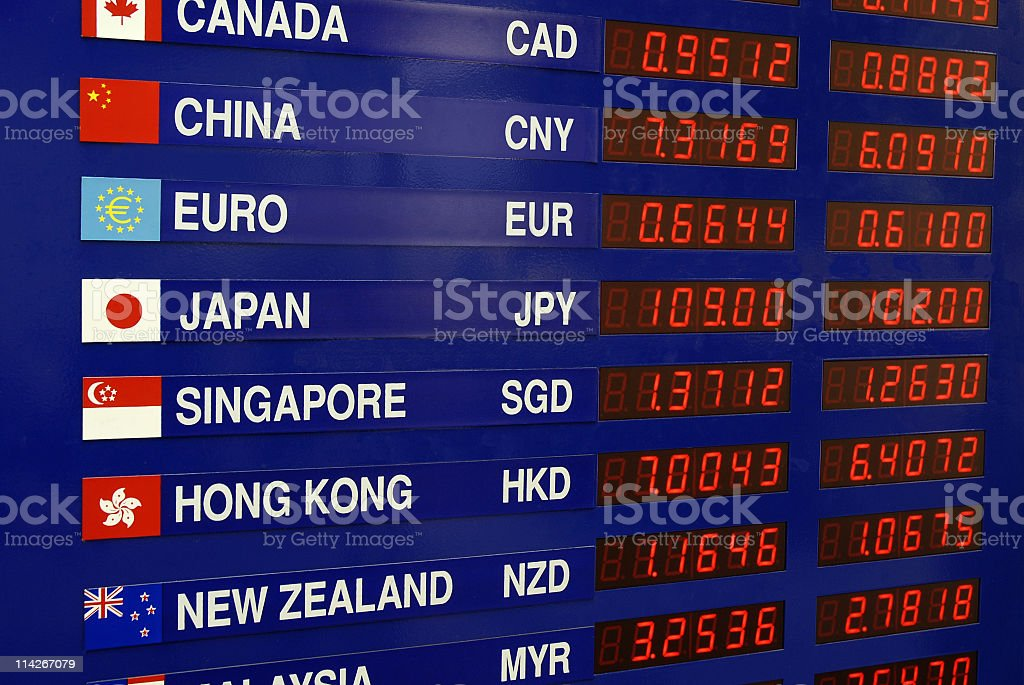 Close up of currency exchange rates on digital board stock photo