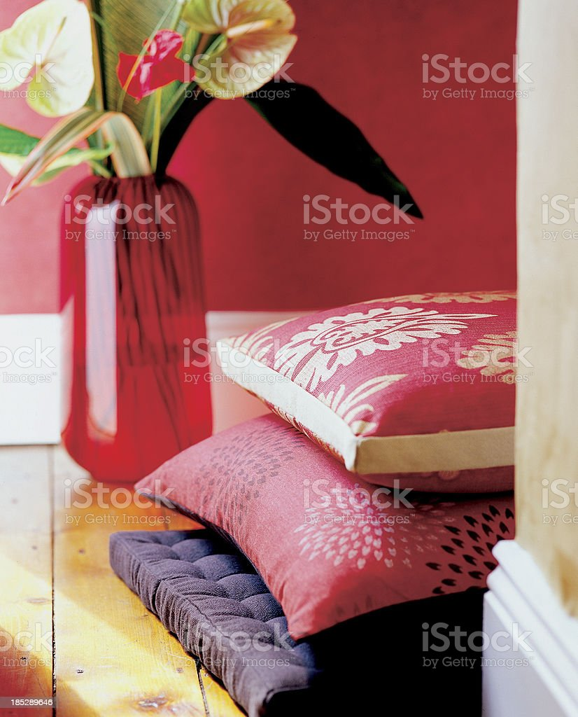 Close up of cushions and vase stock photo