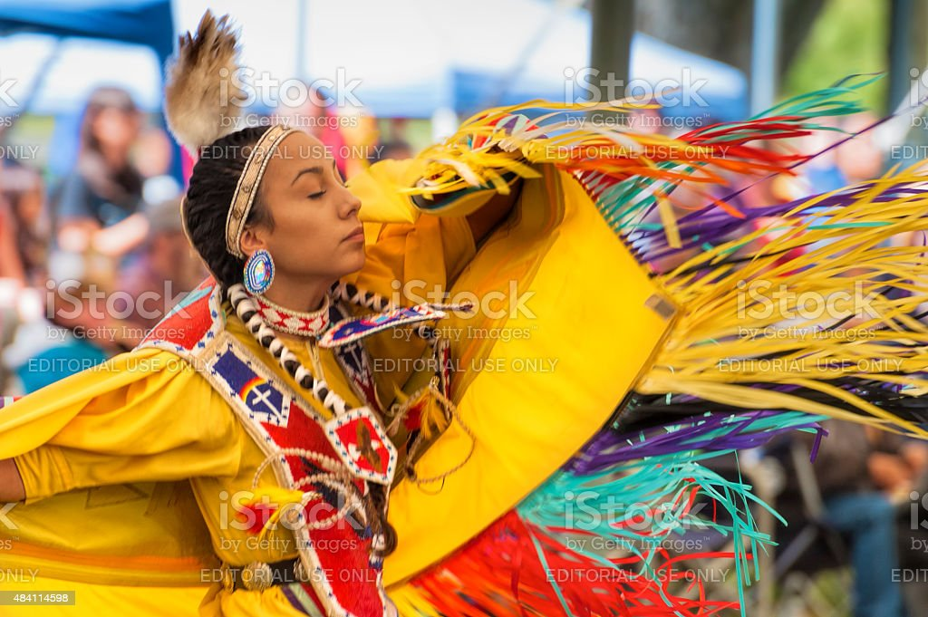 Close up of Dancing Native American Woman stock photo