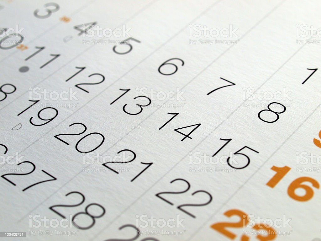 Close up of dates on a monthly calendar stock photo