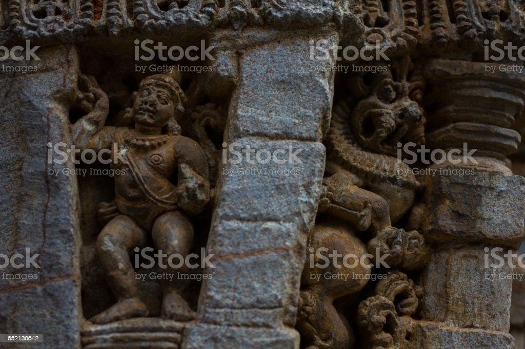 Close up of decorative lintel over shrine entrance in the Chennakesava temple at Somanathapura, Karnataka, India, Asia stock photo