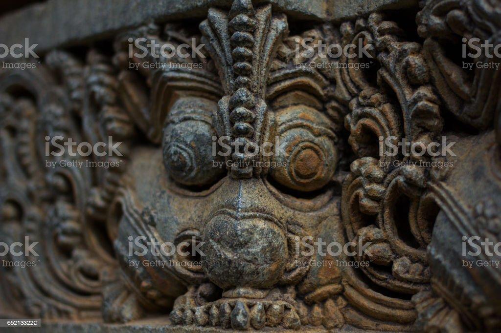 Close up of decorative lintel over shrine entrance in the Chennakesava temple at Somanathapura, Karnataka,India, Asia stock photo