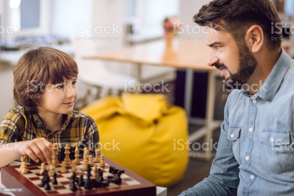 Close up of delighted relatives while playing stock photo