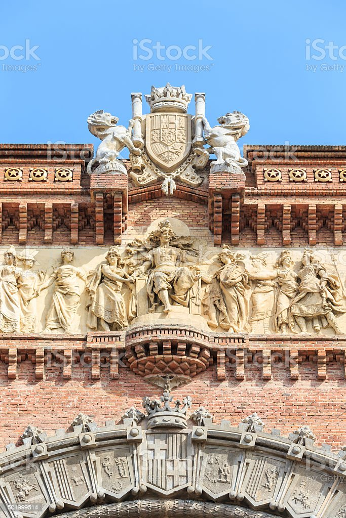 Close up of detail Arc de Triomf in Barcelona stock photo