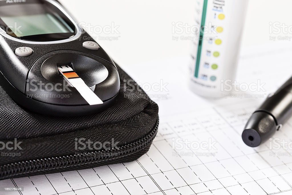 Close up of diabetic glucometer with test strip inserted stock photo