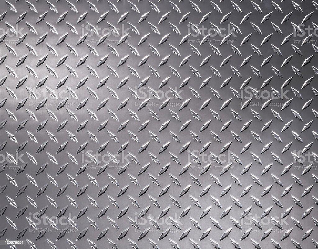 Close up of diamond plate steel sheeting stock photo