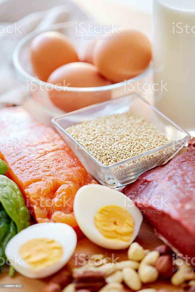 close up of different food items on table stock photo