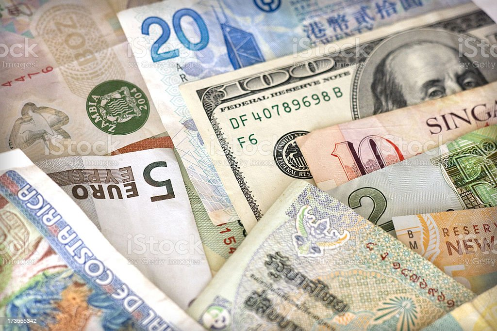 Close up of different kinds of foreign currency royalty-free stock photo