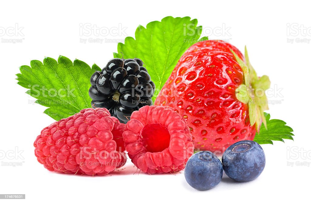 Close up of different mixed berry fruits stock photo