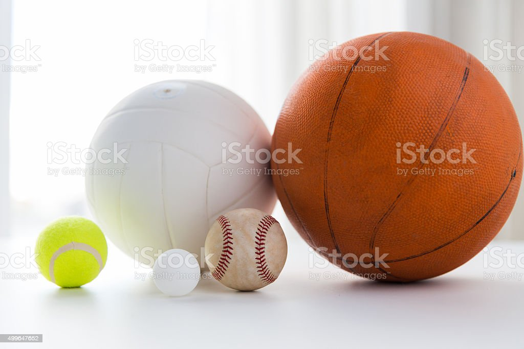 close up of different sports balls set stock photo