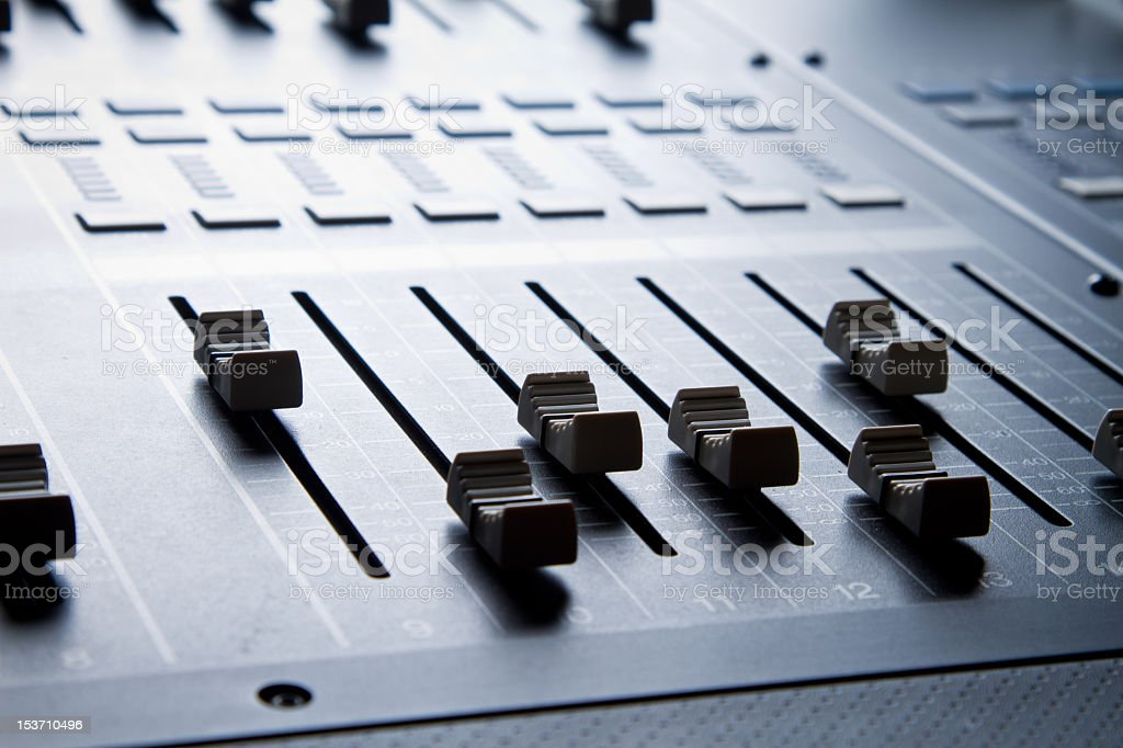 Close up of Digital sound mixing console royalty-free stock photo
