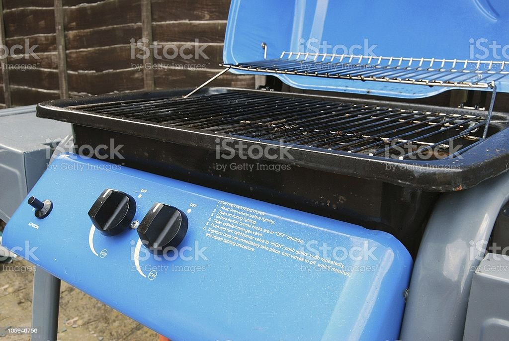Close up of dirty garden gas barbecue (BBQ) stock photo