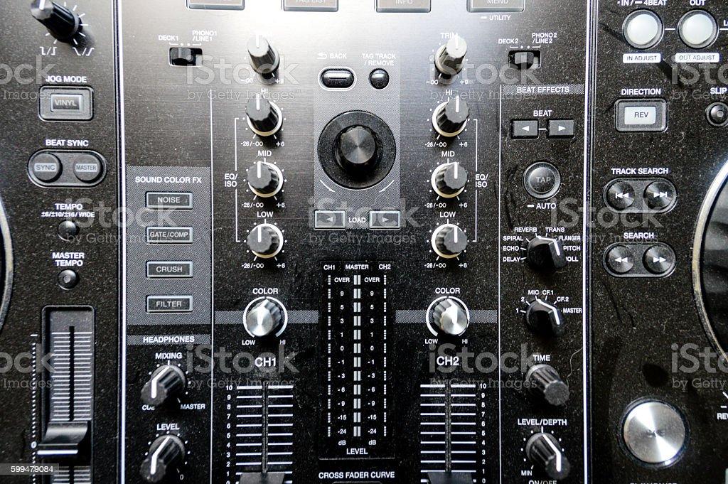 Close up of DJ studio equipment stock photo