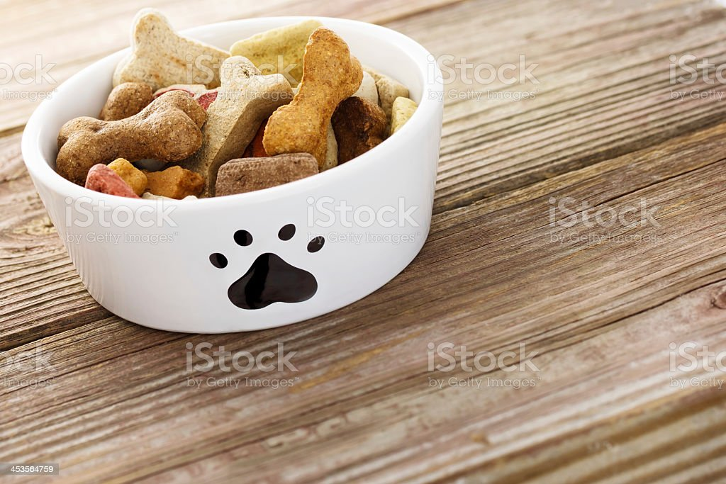 Close up of dog food in small bowl on wooden floor stock photo