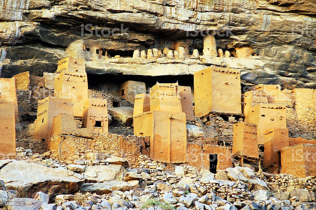 Close up of Dogon and Tellem houses stock photo
