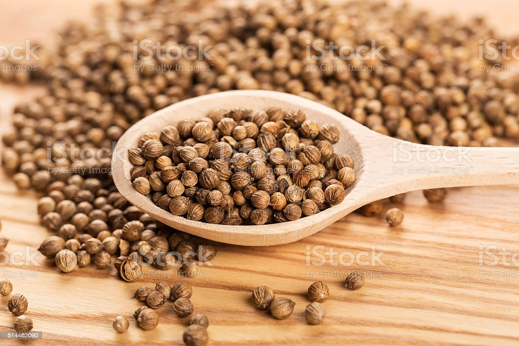 Close up of dried coriander seeds in the wooden spoon stock photo