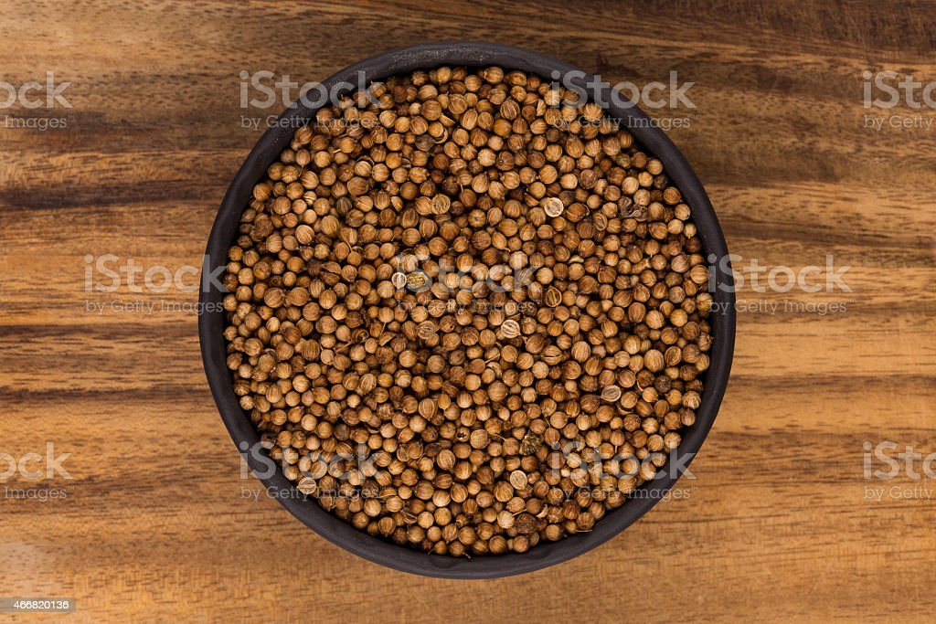 Close up of dried coriander seeds stock photo