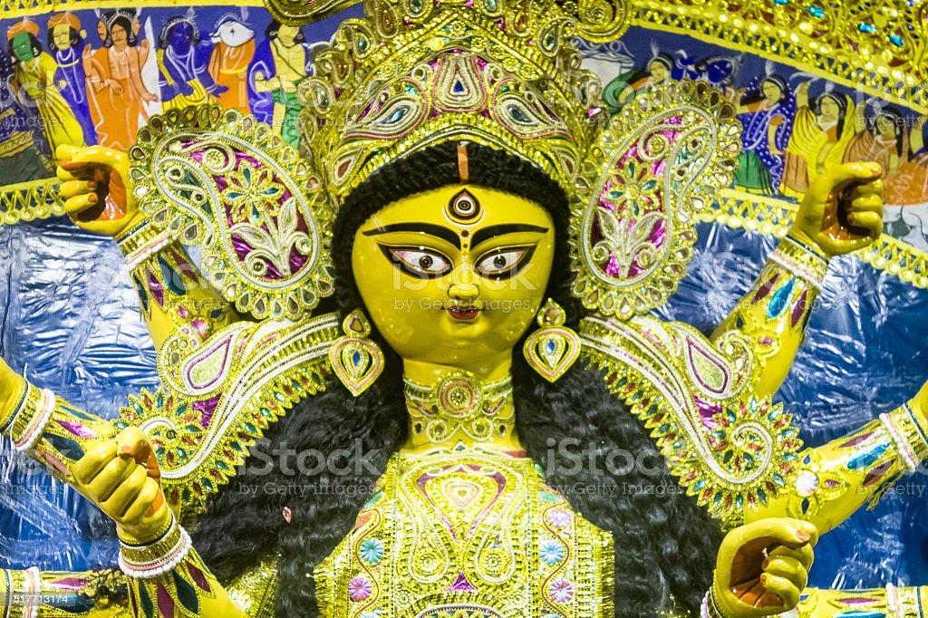 Close up of Durga Ma idol. stock photo