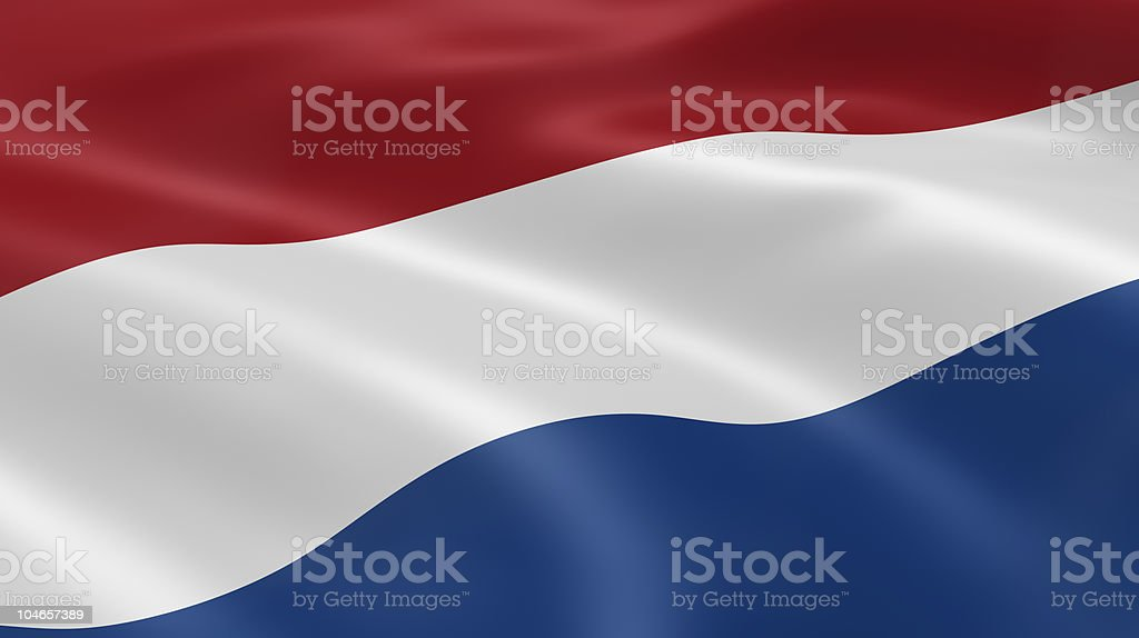 Close up of Dutch flag in the wind stock photo
