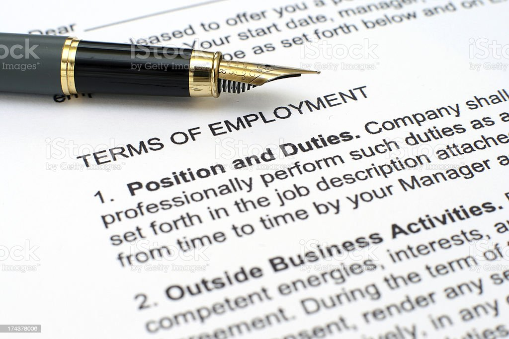 Close up of employment contract and pen stock photo