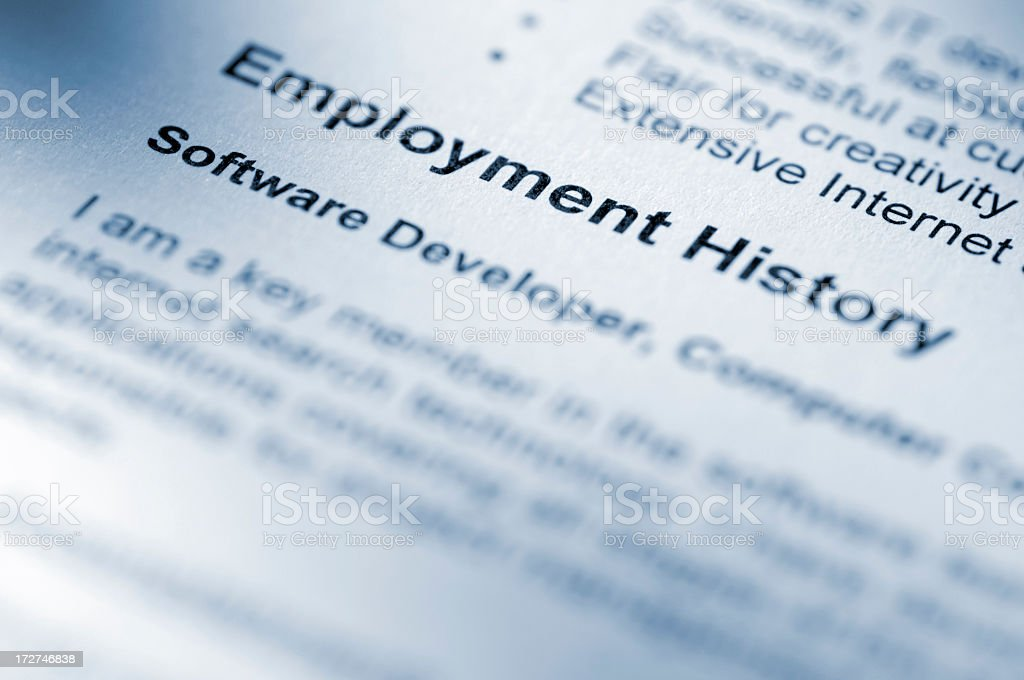 Close Up Of Employment History Section of Resume royalty-free stock photo