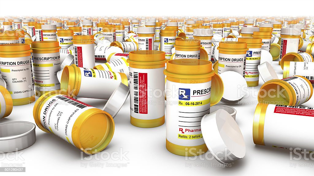 Close up of Empty Pill Bottles stock photo
