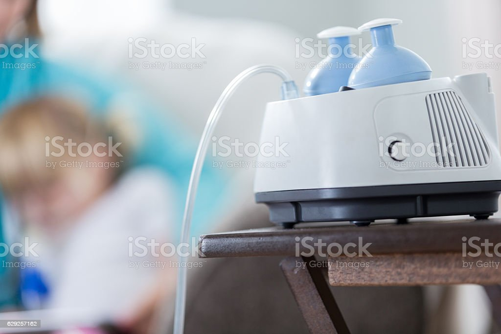 Close up of equipment used to treat cystic fibrosis stock photo