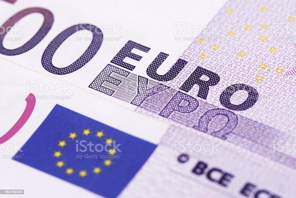 Close up of Euro banknote royalty-free stock photo