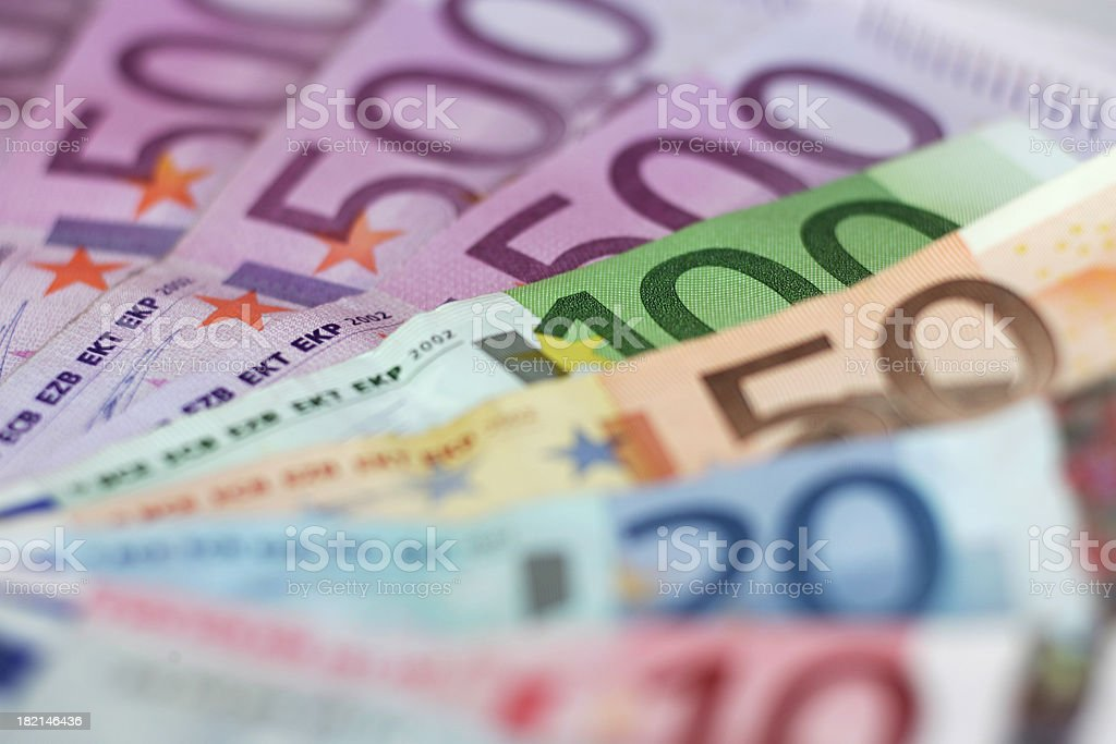 Close up of Euro currency notes royalty-free stock photo