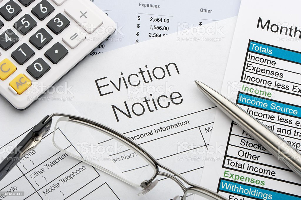 Close up of eviction notice stock photo