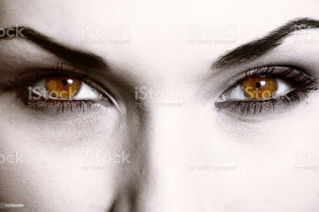 Close up of evil look stock photo