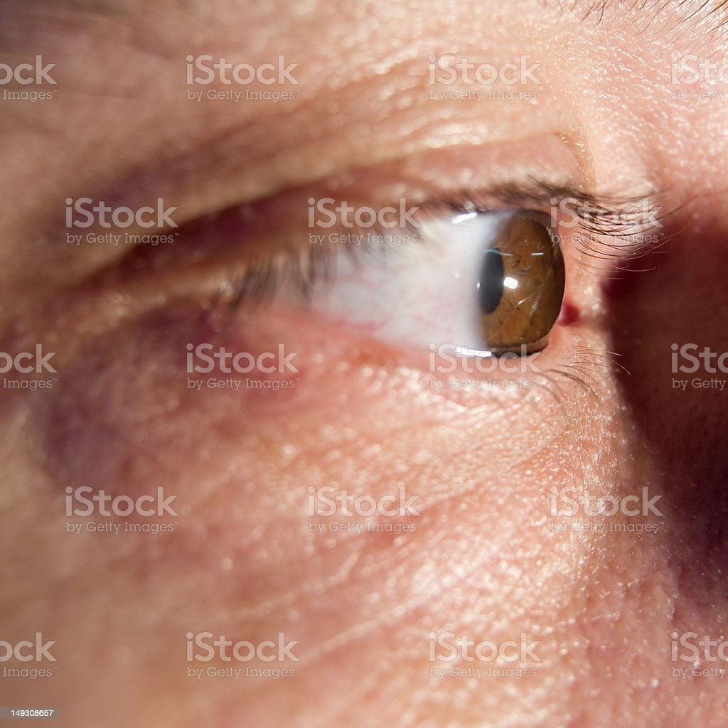 close up of eye side view stock photo