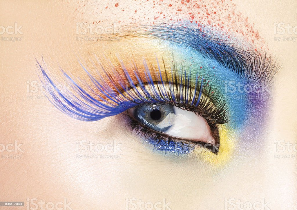 close up of eye with multicolored make-up royalty-free stock photo