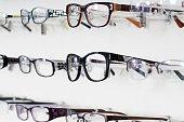 Close up of Eyeglass Frames Display