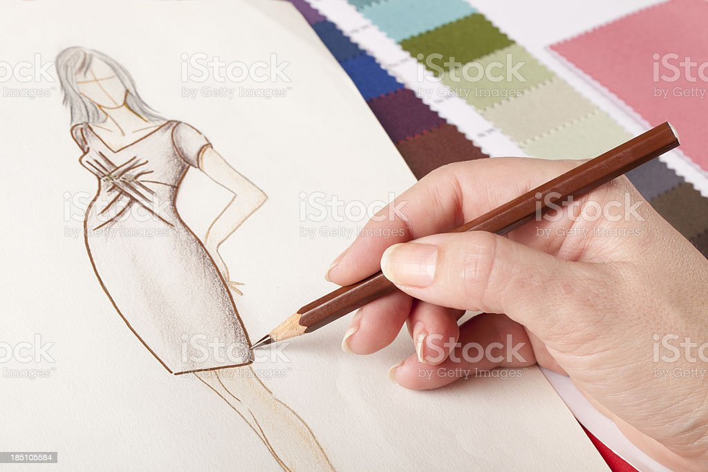 close up of  fashion design drawing stock photo