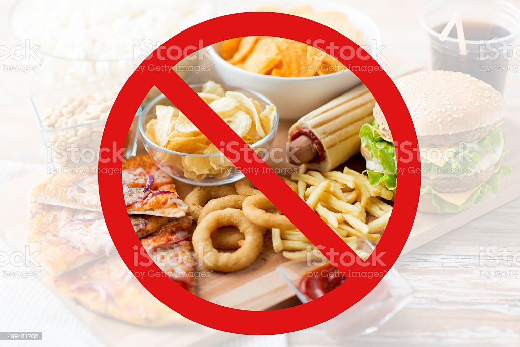 close up of fast food snacks behind no symbol stock photo