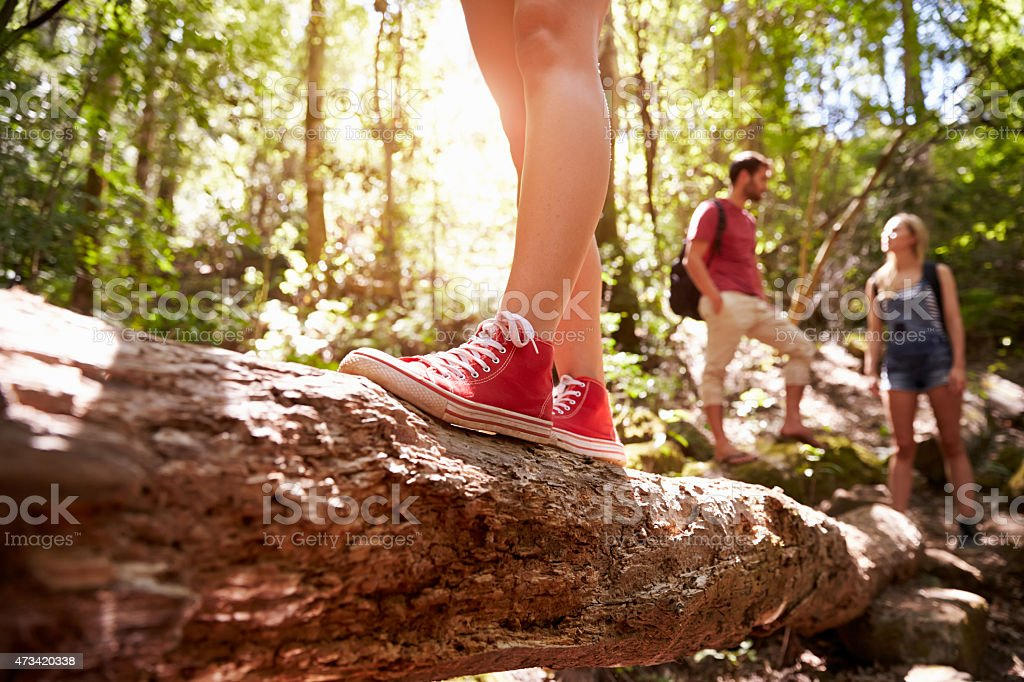Close Up Of Feet Balancing On Tree Trunk In Forest stock photo